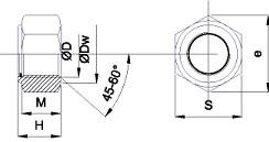 Гайки шестигранные со стопорным кольцом DIN 985